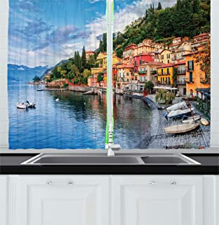 Ambesonne Italian Kitchen Curtains, Summer Village by The Mediterranean Sea with Yacht Boats Idyllic Town Panorama, Window Drapes 2 Panel Set for Kitchen Cafe Decor, 55