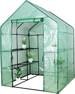 VEIKOU Walk-in Greenhouse PE Cloth Cover Garden House Succulent Plants Flowers Green Plant Insulation Family (56``x56``x77``)