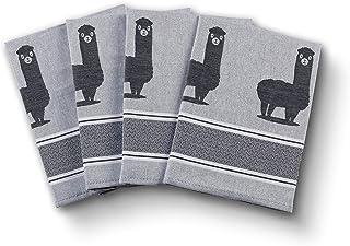 saewelo 4er Set Geschirrtücher | 100% Baumwolle, 50x70 cm | als Küchentücher, Baumwolltuch oder Trockentuch Alpaca, Grau
