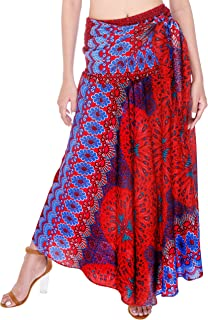 Joop Joop 2 in 1 Boho Long Maxi Skirt Midi Dress Bohemian Loose Flowing Summer Travel Beach Coverup Festival Casual Skirt