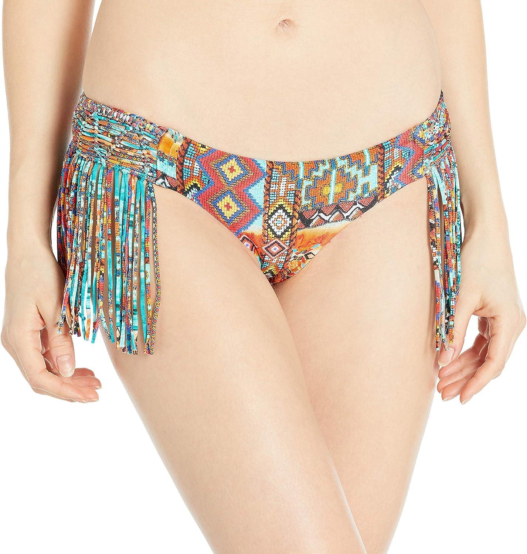 Luli Fama Women's Wild and Free Weave Fringed Bikini Bottom