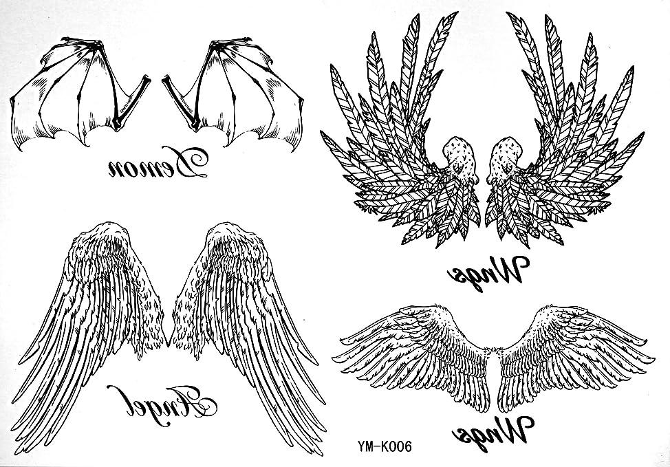 Angel Tempoary Tattoos Waterproof Tattoo Stickers For Female Models Black White Angel Wings Tattoos Totem Tattoo Stickers