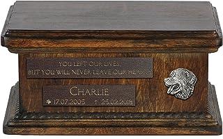 ArtDog Ltd. Bernese Mountain Dog, urna para cenizas de perro con alivio y frase con nombre y fecha de su perro