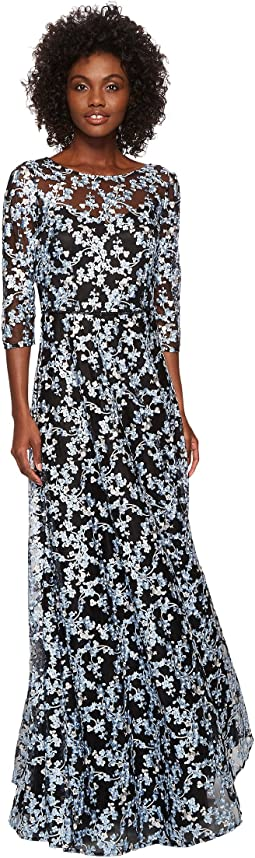 Tahari by ASL Novelty Embroidery Illusion Neck 1/2 Sleeve Dress