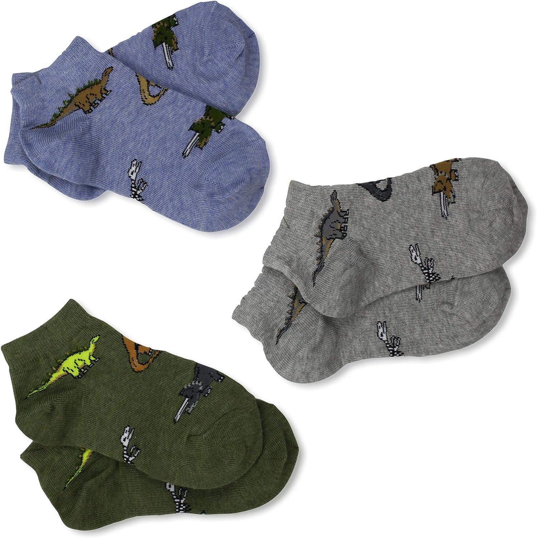 Jefferies Socks Little Boys' Dino Low Cut Triple Treat Socks (Pack of 3)