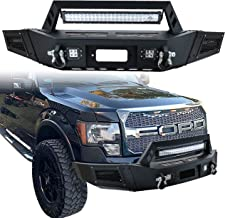 Vijay Ford Front Bumper Texture Black With 1X 144W LED Light and 4X 18W LED Lights & 2X D-Ring and Winch for 09-14 Ford F150 (Excluding Raptor) …