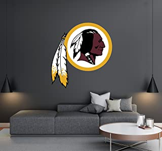 Washington Redskins - Football Team Logo - Wall Decal Removable & Reusable For Home Bedroom (Wide 50