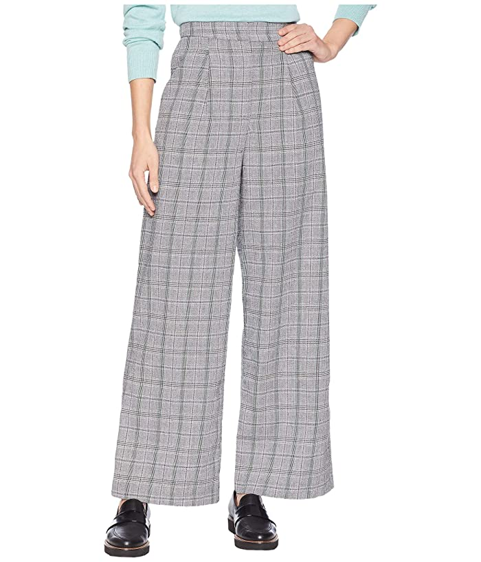 1920s Skirts, Gatsby Skirts, Vintage Pleated Skirts J.O.A. Glen Check Wide Leg Pants Grey Plaid Womens Casual Pants $41.40 AT vintagedancer.com