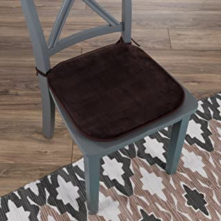 "Lavish Home 82-TEX1043BR Memory Foam Chair Cushion-Square 16""x 16.25"", Brown"