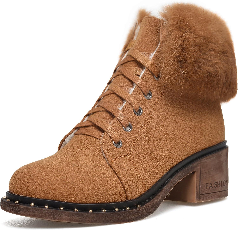 DoraTasia Genuine Leather Nubuck Lace up Women's Ankle Hiking Boots
