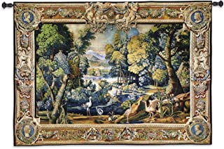 15th Century Landscape | Woven Tapestry Wall Art Hanging | Abundant Medieval Forest with Animals | 100% Cotton USA Size 71x53