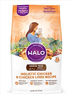 Halo Grain Free Natural Dry Cat Food, Kitten Chicken & Chicken Liver Recipe