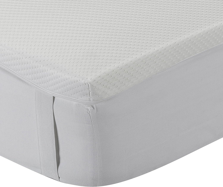 Classic Blanc - Topper/Sobrecolchón viscoelástico 5 cm, con funda lavable y tratamiento Aloe Vera, firmeza media. 150x190cm-Cama 150 (Todas las ...