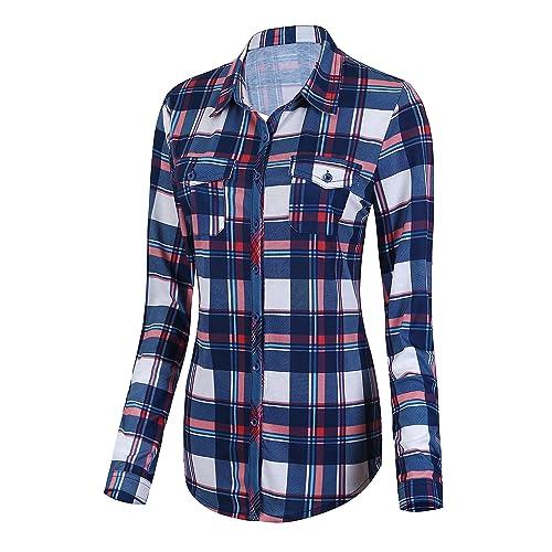 b3ff69e8e1d Urban CoCo Women s Classic Plaid Shirt Button Down Long Sleeve Blouse