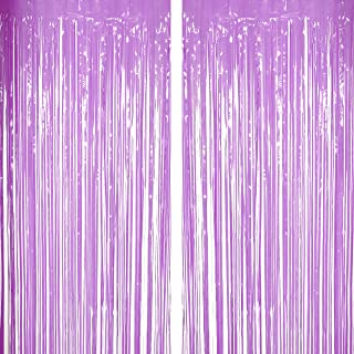 Purple Tinsel Foil Fringe Curtains Decorations -Wedding Bridal Shower Party Baby Shower 1st Birthday Photo Backdrops Props Decorations, 2pc