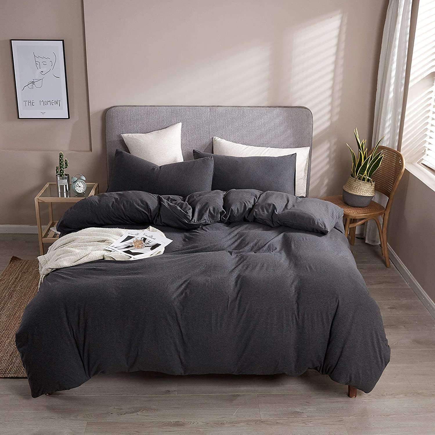 Household 3-Piece Duvet 1 year warranty Cover King Knit Cotton Super popular specialty store Jersey Duve 100%