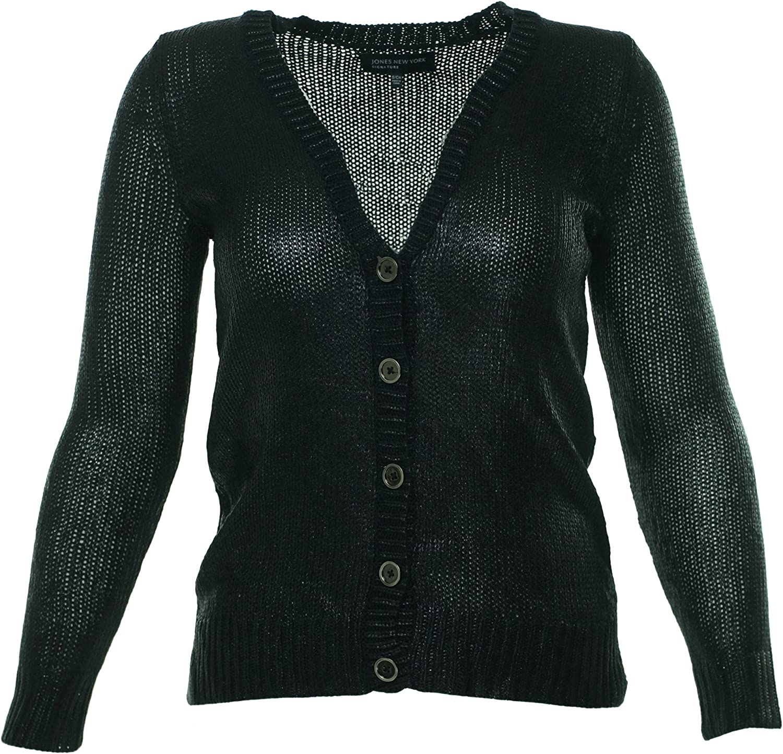 Jones New York Signature Womens Navy Long Sleeve Button Sweater L