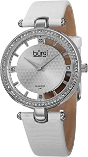 Burgi Swarovski Crystal Studded Watch - 4 Guinene Diamond Markers, See Through and Sunray Dial On Genuine Leather Women's Watch - BUR104