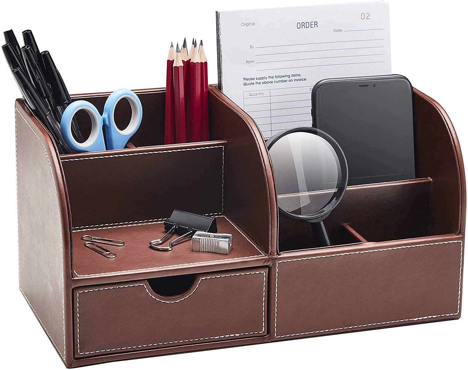 Gallaway Leather Desk Organizer - Office Stationery Storage Box Organizer, Holds Desk Supplies Like Business Card, Pen, Pencil Mobile Phone, Office Accessories (Brown)…