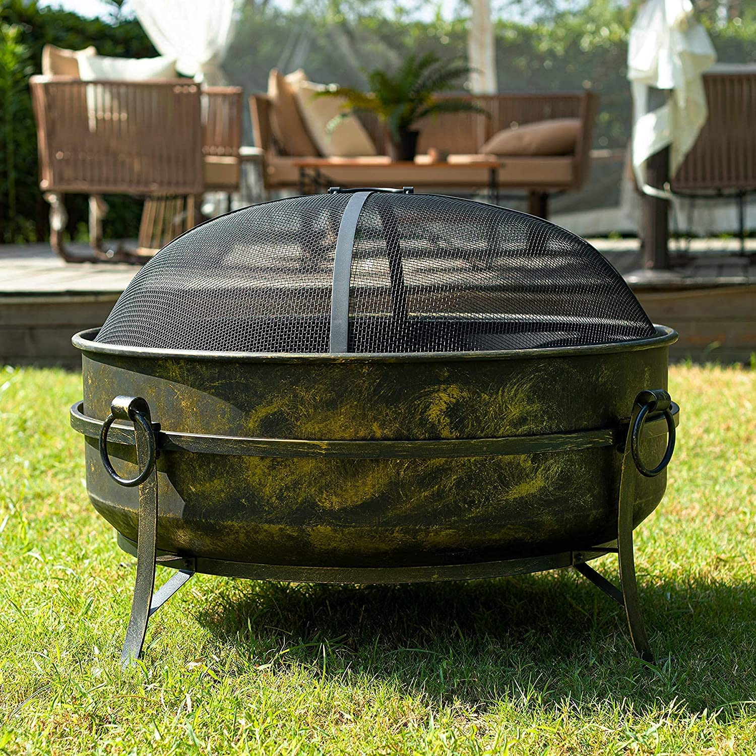 Buy CO Z 10 Inch Outdoor Fire Pit, Large Round Wood Burning Fire ...