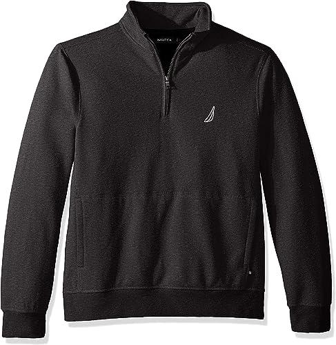 Nautica Hommes's manche longue Half Zip Mock Neck Sueded Fleece Sweatshirt, Charcoal Heather, grand