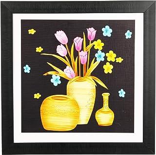 Sehaz Artworks 'Flower Pot_001 Modern' Wall Painting Frame (Fibre, 33.5 cm x 33.5 cm)