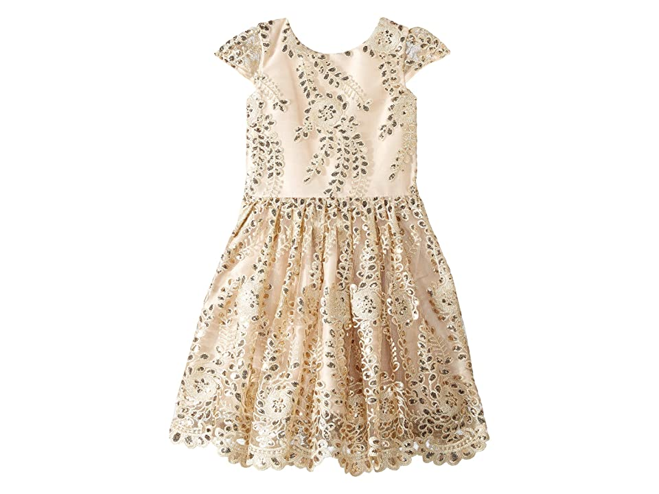 fiveloaves twofish Fit N Flare Dress (Big Kids) (Gold) Girl