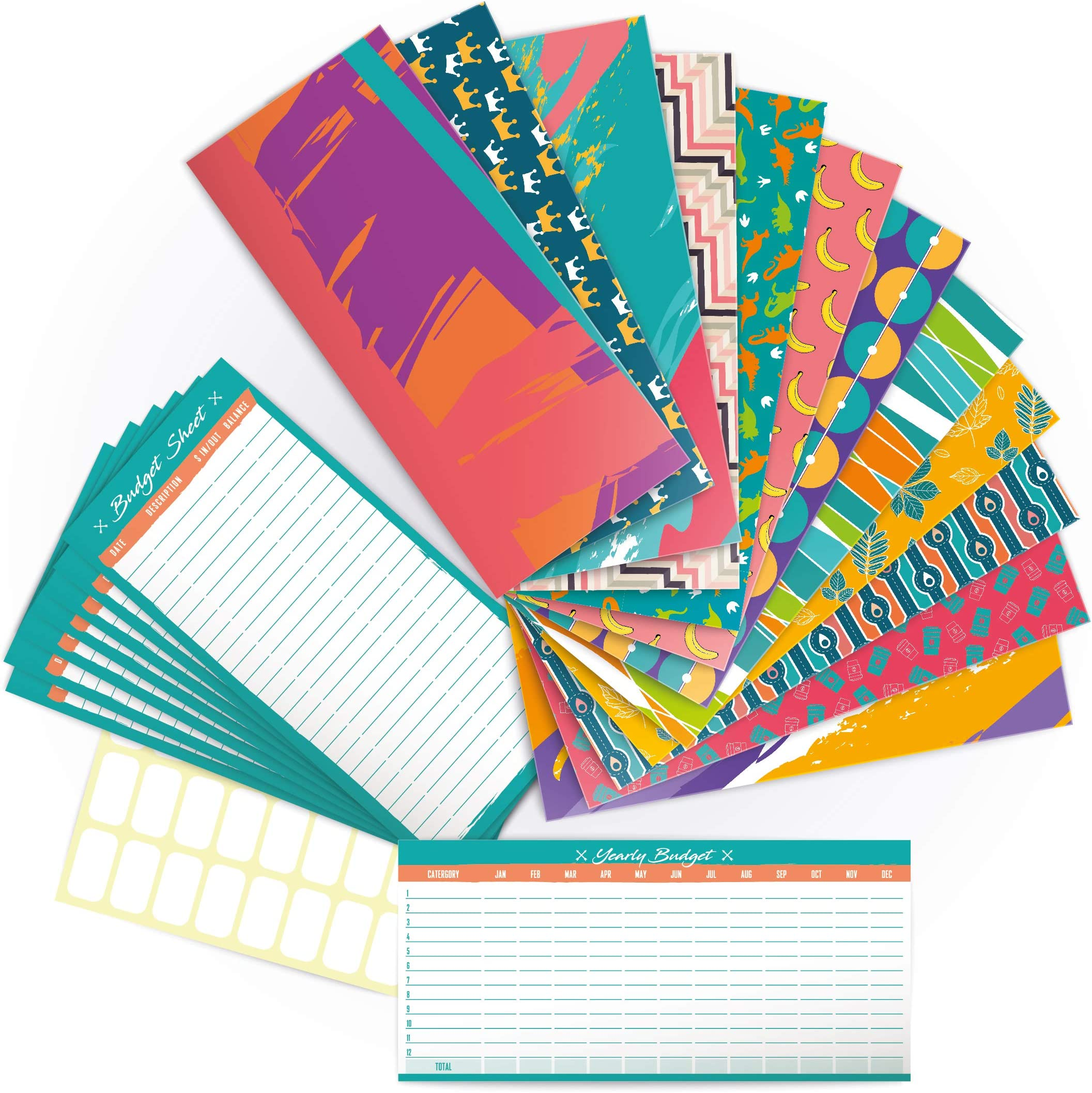 Laminated *MINI-SIZE* Cash Envelopes Set of 5 for Budgeting Unicorns