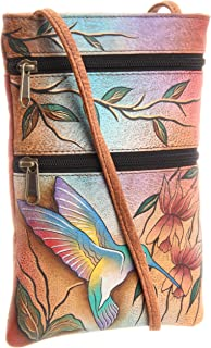 Anuschka Damen Women's Leather Hand Painted Double Zip Travel Crossbody Bag Umhängetasche, Handtasche, Einheitsgröße