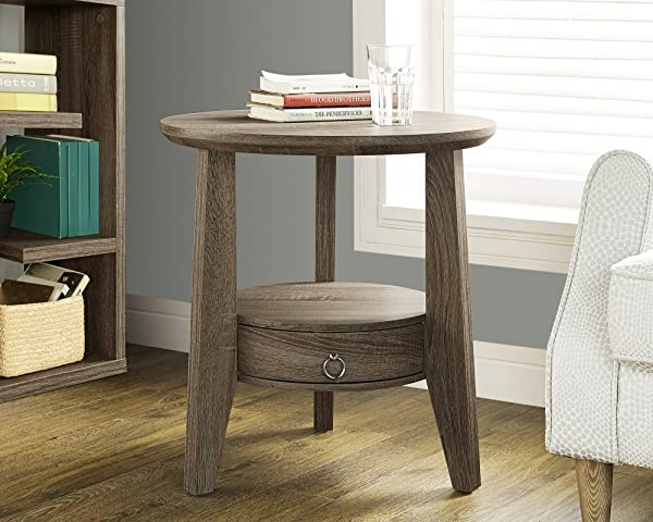 Monarch Specialties Dark Taupe Reclaimed Look Accent Table 1 Drawer 23 Inch