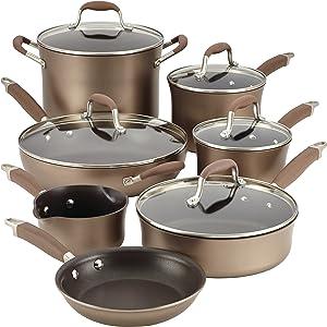 Anolon 84066 Advanced Hard Anodized Nonstick Cookware Pots and Pans Set, 12 Piece, Bronze