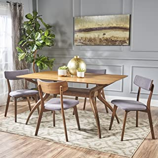 Christopher Knight Home Nerron Mid Century Finished 5 Piece Wood Dining Set Fabric Chairs, Natural Walnut/Dark Grey