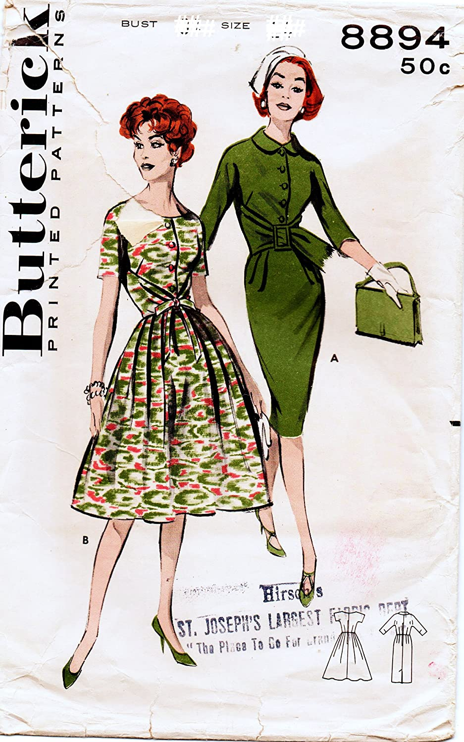 Butterick 8894 Misses Slim or Full Skirt Dress with Kimono Sleeves Vintage Sewing Pattern Check Offers for Size