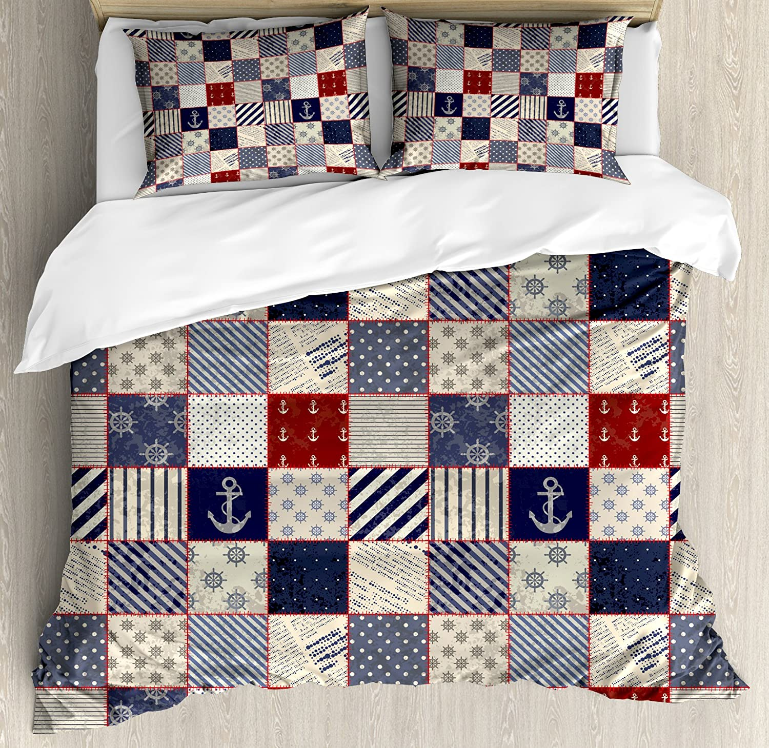 Lunarable Patchwork Duvet Cover Set Queen Size, Checkered Pattern with Old Nautical Design Elements and Grunge Effect, Decorative 3 Piece Bedding Set with 2 Pillow Shams, Navy bluee Ruby Beige