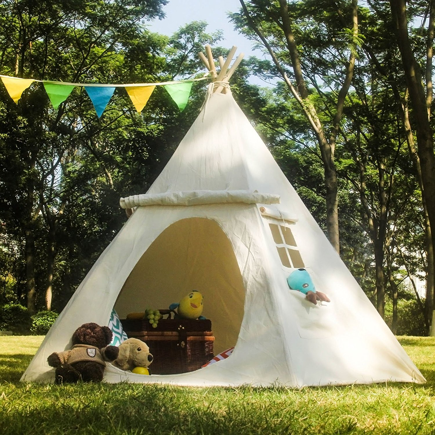 Lavievert Teepee Children Indian Playhouse Cotton Canvas Kids Play Tent for Indoor or Outdoor Play ( & Wigwam Tent: Amazon.co.uk