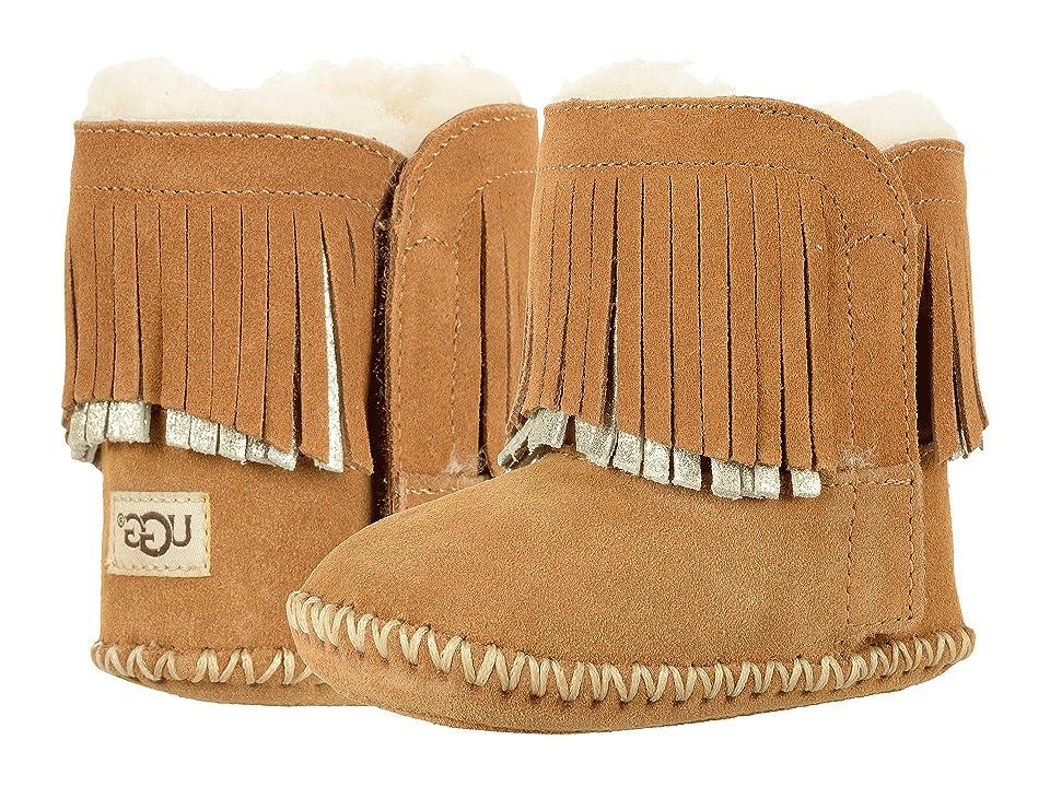 UGG Kids Branyon Fringe (Infant/Toddler) (Chestnut/Metallic) Girls Shoes