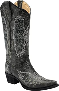 Corral Circle G Women's Grey/Blue Wing and Cross Embroidered Cowboy Boots