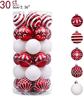 Valery Madelyn 30ct 60mm Traditional Red and White Shatterproof Christmas Ball Ornaments Decoration,Themed with Tree Skirt(Not Included)