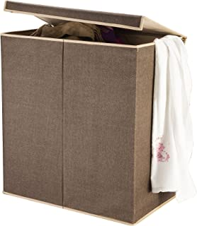 7250 Villacera Double Laundry Hamper Two Compartment Sorter with Magnetic Lid, Brown