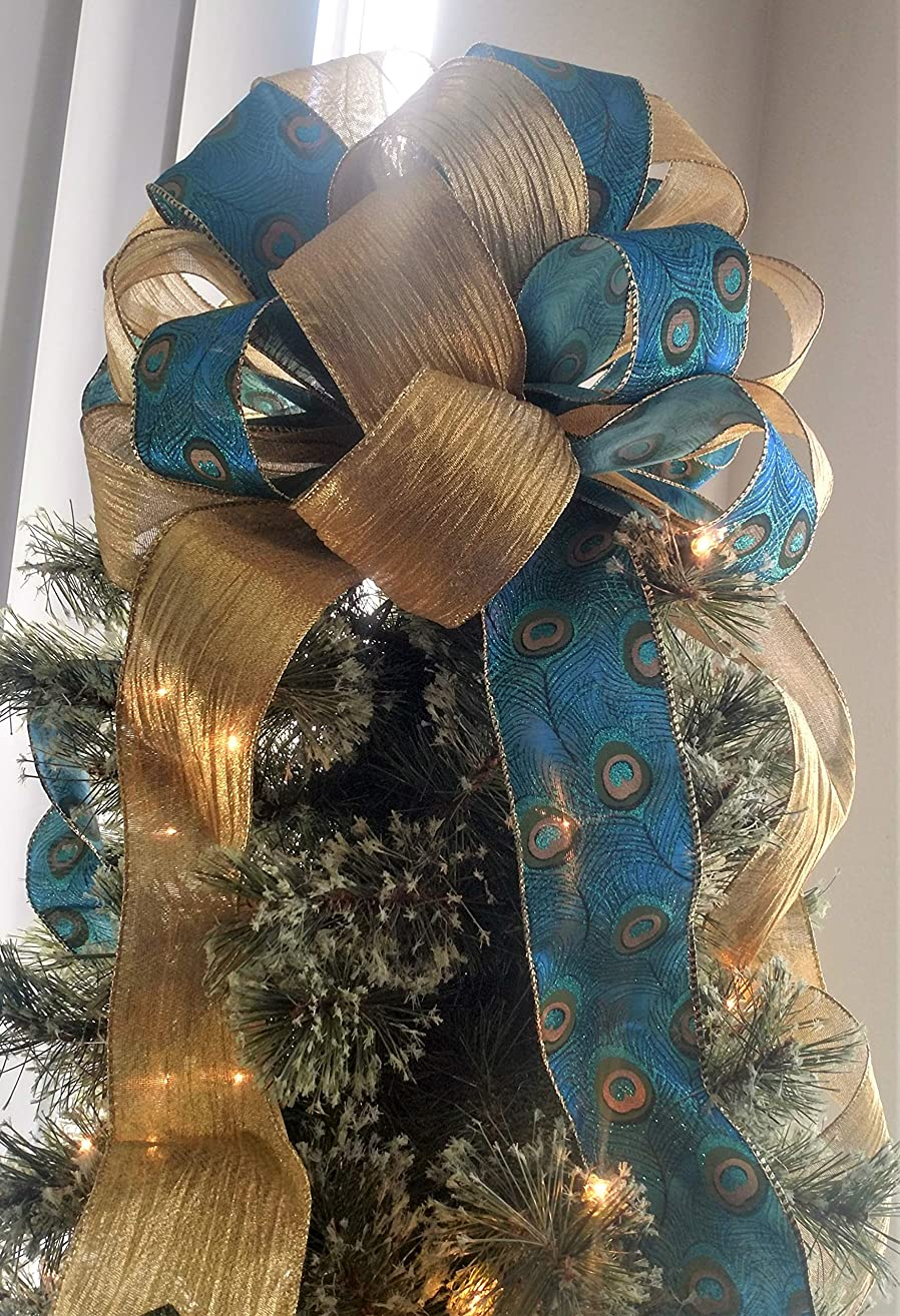 Christmas Tree Topper - Peacock Christmas Tree Topper Bow - Holiday Decoration Bow - 12