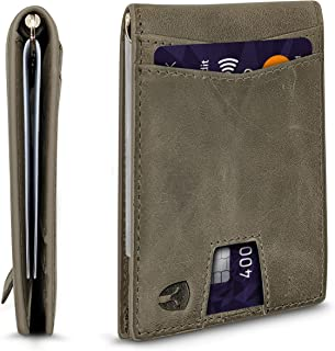 RFID Blocking Slim Minimalist ID Inside Front Pocket Wallet, Money Clip, 9 Slots, Leather (Dark Gray)