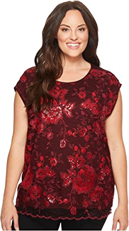 Vince Camuto Specialty Size - Plus Size Extend Shoulder Sequin Lace Blouse