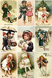 Victorian Vintage Children # 104 Christmas Card Collage Sheet 8.5 x 11