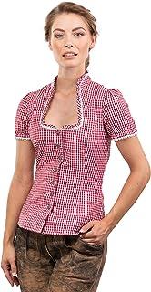 Schöneberger Trachten Couture Trachtenbluse Jasmin rot/Weiss kariert - traditionelle, taillierte Trachten Bluse mit Stehkragen & Herzknöpfen