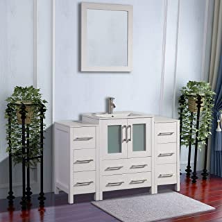 Vanity Art 48 inch Single Sink Modern Bathroom Vanity Combo Set 2 Side Cabinets 1 Shelf Ceramic Top Bathroom Cabinet with Free Mirror (White) - VA3024-48W