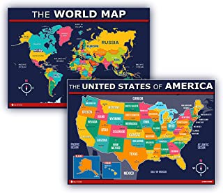 USA and World map poster 2 pack for kids Laminated EXTRA LARGE blue Young N Refined (24x30)