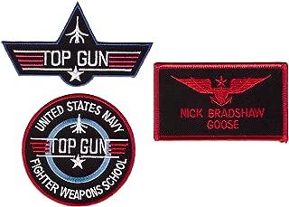 Goose Top Gun School Name Badge Costume Patches 3 pcs Set iron on sew on