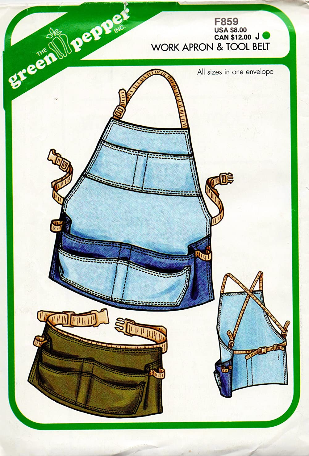 Green Pepper Work Apron and Tool Belt Sewing Pattern Level 2 Easy All Sizes F859