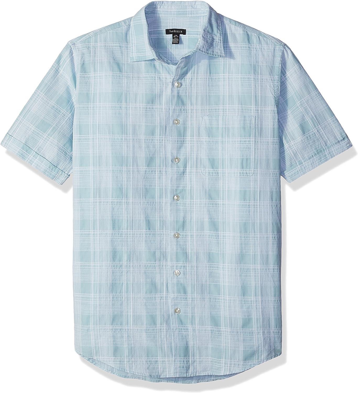 Van Heusen Men's Big and Tall White Washed Short Sleeve Button Down Plaid Slub Shirt