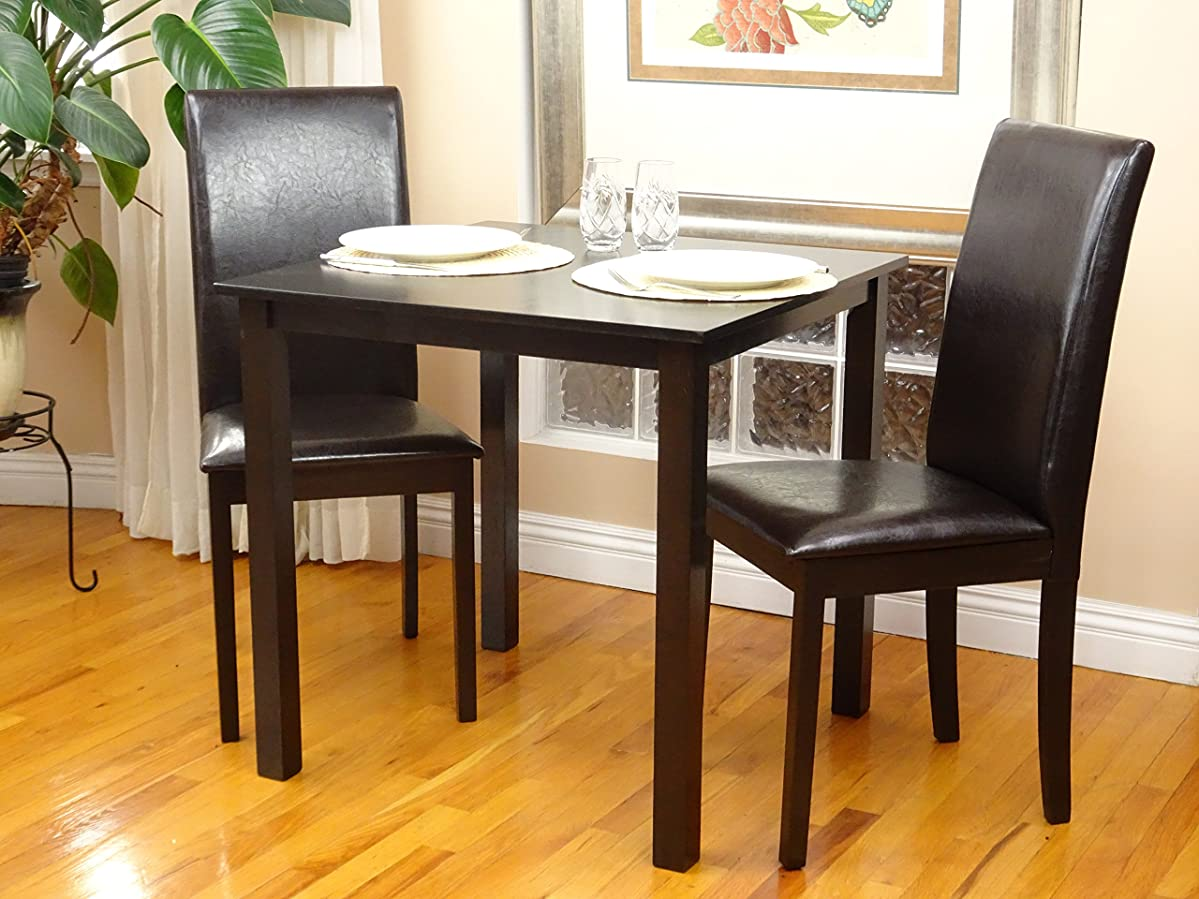 3 Pc Dining Room Dinette Kitchen Set Square Table and 2 Fallabella Chairs Espresso Finish